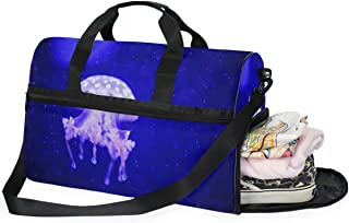 Travel Luggage Duffle Bag Lightweight Portable Handbag Fire Jellyfish Print Large Capacity Waterproof Foldable Storage Tote