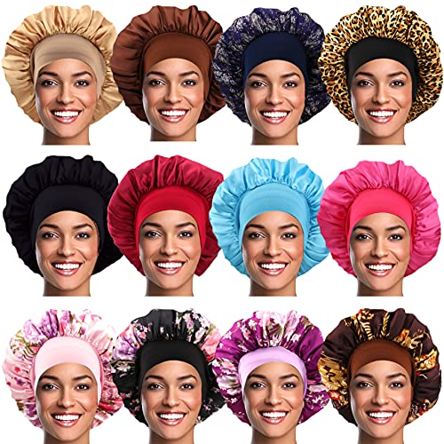 12 Pieces Satin Sleep Cap Soft Elastic Wide Band Hair Bonnet Hat Large Night Sleeping Cap Head Cover for Women Long Curly Natural Hair