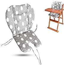 Cojín para silla alta, tamaño grande, grueso para cochecito de bebé/coche/silla alta, forro acolchado, protector transpirable, adecuado para todo tipo de sillas de comedor de bebé (nubes grises)