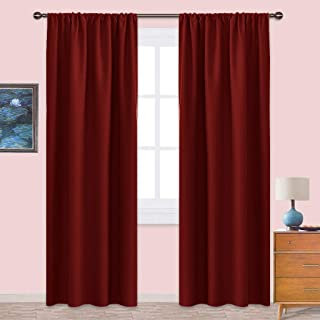 NICETOWN Burgundy Curtains Blackout Drapes - Home Decorations Thermal Insulated Solid Blackout Living Room Curtains/Draperies for Christmas & Thanksgiving Present (1 Set,42 x 84 inches,Red)