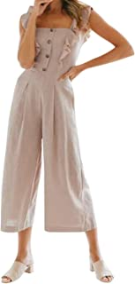 Pink Preppy Square Neck Sleeveless Layered Ruffle Strap Button Up Mid Waist Solid Jumpsuit