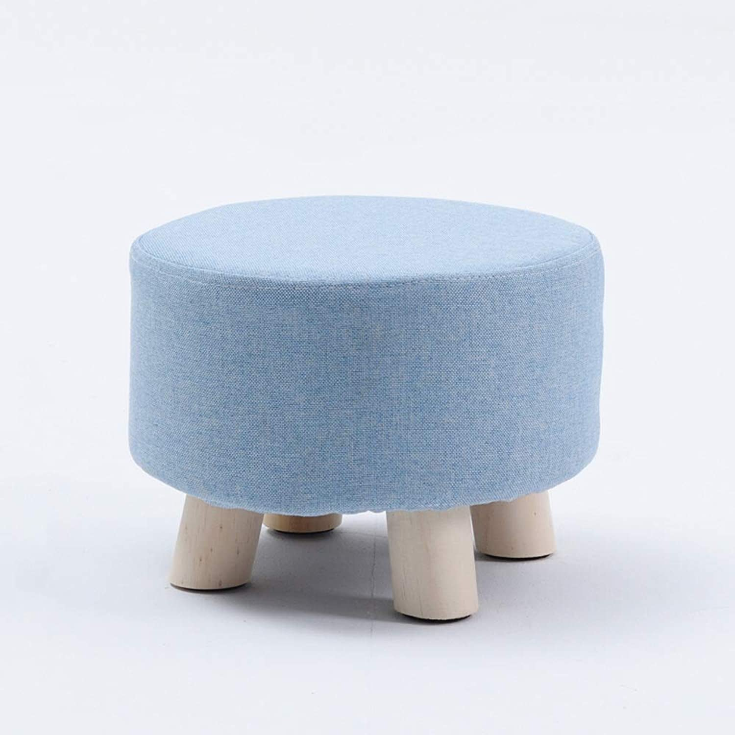 Wapipey European Modern Luxury Upholstered Footstool Nordic Removable Seat Cover Round Stool Wooden Leg Pattern Round Fabric 4 Legs with Non-Slip Mat (color   bluee)