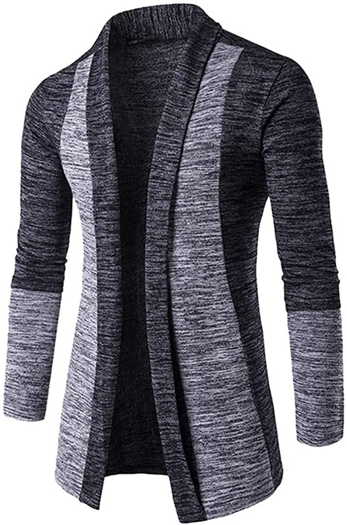 Men Patchwork Slim Cardigan Warm Casual Sweaters Long Knitted Turn-Down Collar Outerwear