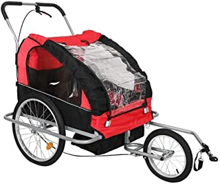 Pet Bike Trailer Premium 2in1 Barn Jogger Barnvagn med fjädring 360 grader roterbara Childs cykelkärra Transport Buggy bär...