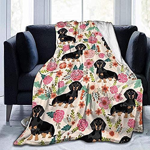 HDAXIA Manta De Confort,Acuarela Daschund Dog, Cálida Franela Ultra Suave De Forro Polar Ligero Manta para Sofá Cama para Adultos Y Niños 50'X 40'