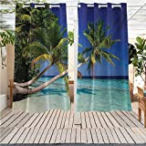 DONEECKL Ocean Outdoor Waterproof Curtain Maldives Bay Paradise Resort Summer in Pacific Holiday Destinations Gazebo W63 x L63 inch Navy Blue Turquoise Green