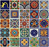 Color y Tradicion 25 Mexican Tiles 4x4 Handpainted Hundred Pieces Different Designs