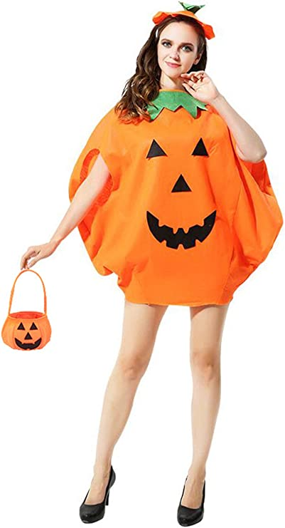 Adult Pumpkin Second Skin Costume Suit Halloween Fancy Dress Orange Small