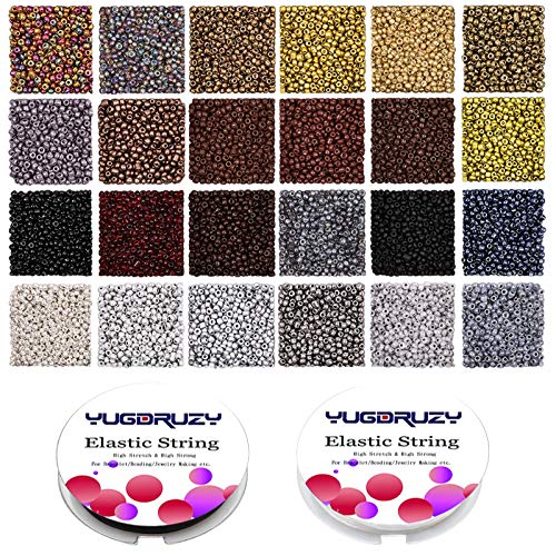YUGDRUZY Multicolor Small Glass Seed Beads Bulk, 24 Colors 2mm 12/0 7200PCS Opaque Small Craft Round Pony Beads Starter Kit with Elastic String for DIY Bracelets Earring Making Supplies Kit