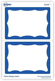 "Avery Personalized Name Tags, Print or Write, Blue Border, 2-1/3"" x 3-3/8"", 600 Adhesive Tags (5144) Pack of 6-44144"
