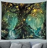 Awesocrafts - Tapiz para colgar en la pared, árbol de la vida en el bosque, plantas de elfos, río verde cálido psicodélico, tapices para dormitorio, dormitorio, sala de estar, decoración de pared