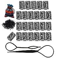 Hanpabum 24Pcs Norse Vikings Runes Beads and Rubber Bands Black