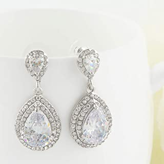 Women's Cubic Zirconia Crystal Wedding Tear Drop Earrings Silver-Tone