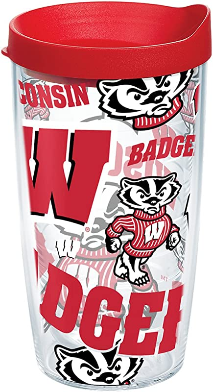 Tervis 1257595 NCAA Wisconsin Badgers All Over Tumbler With Lid 16 Oz Clear