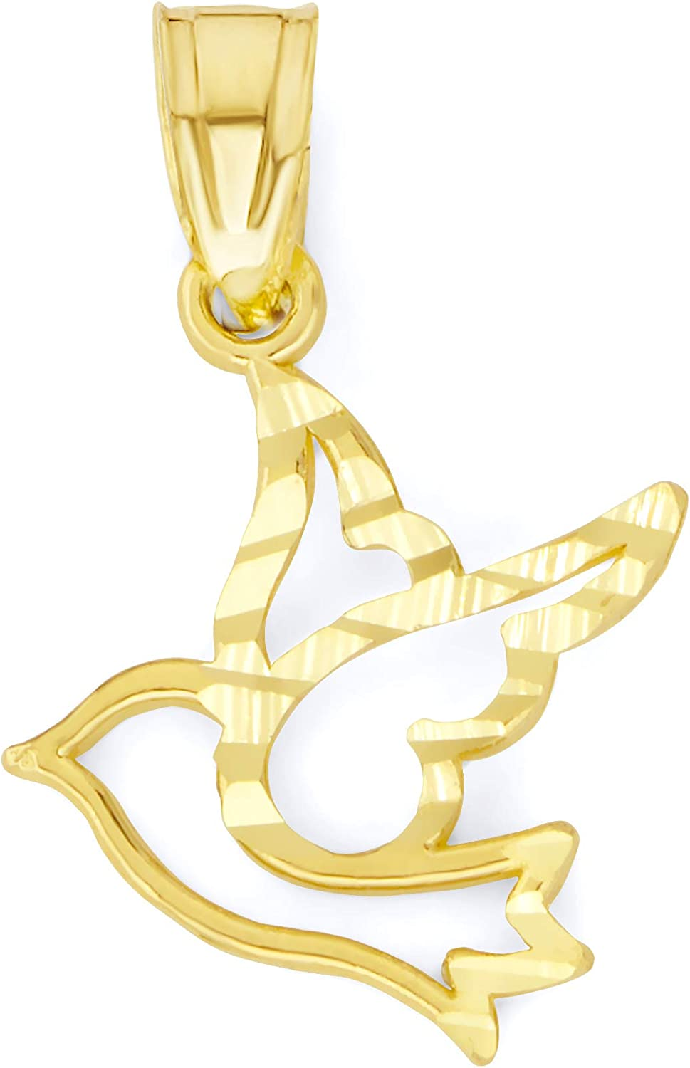 Ice on Fire Jewelry 10k Real Solid Gold Dove Pendant, Dainty Diamond Cut Charm for Women Gifts for Her
