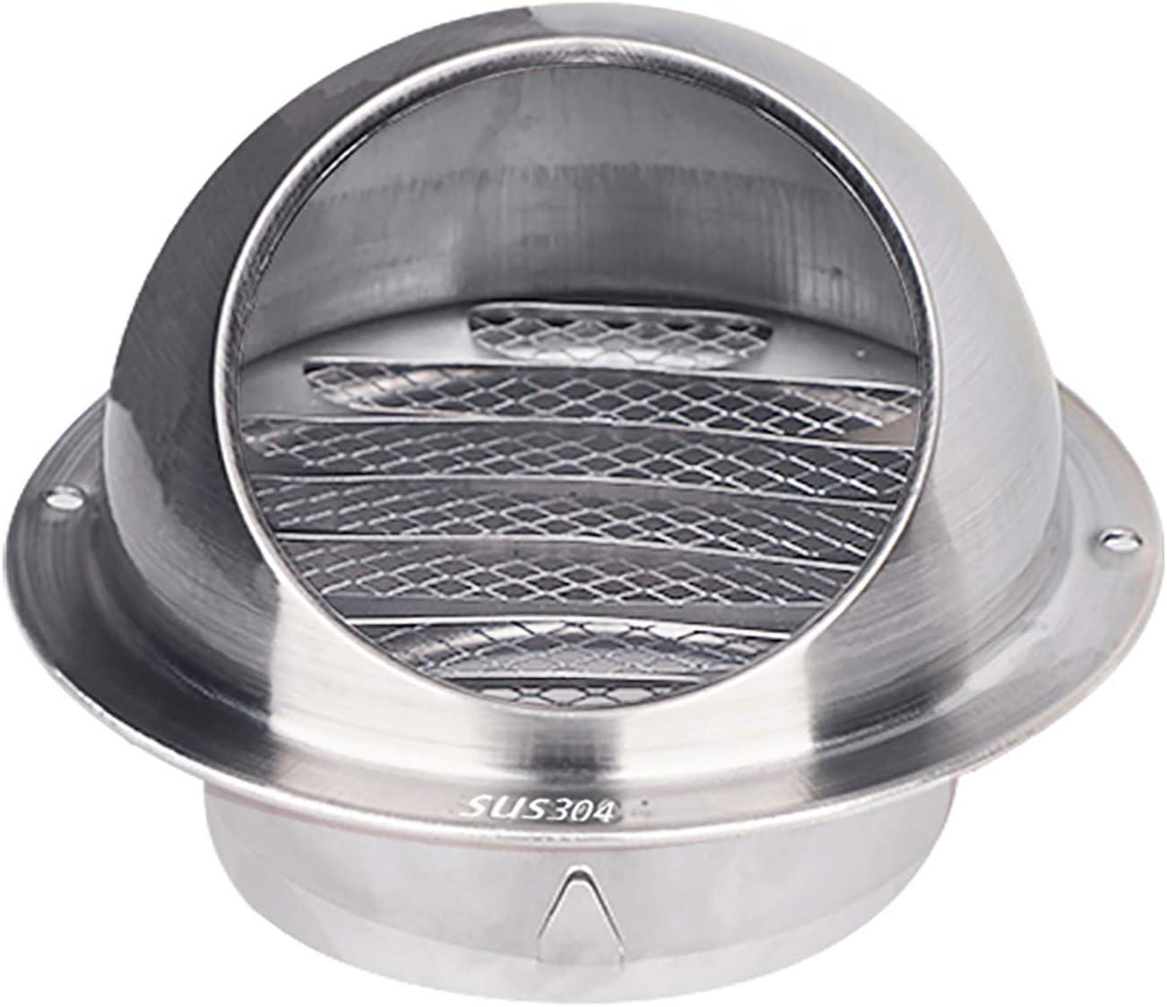 QWEASDF Cubierta de ventilación, 304 Acero Inoxidable Rejilla ventilación ventilación Redonda Rejilla, Pantalla Mosca incorporada Malla Extractor Externo Pared para Cocina y baño (Ø60-300mm),250mm