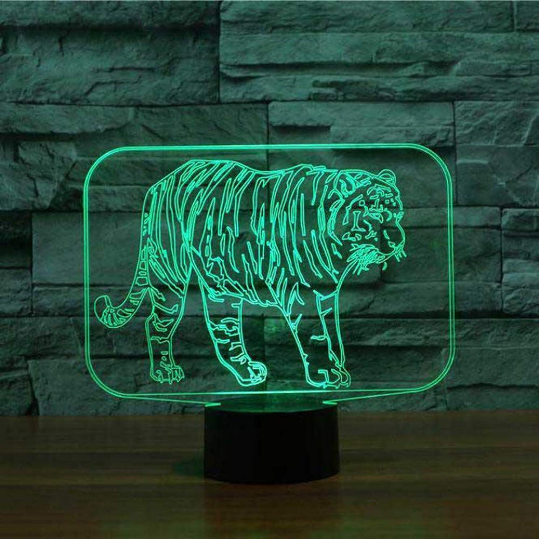 Wuqingren Schlafzimmer Nachtlicht Atmosphre Tiger Modellierung Led 3D Tier Tischlampe Schlaf Beleuchtung Kinder Urlaub Dekor Geschenk,Remote und berühren