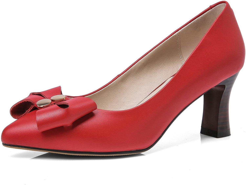 Nine Seven Genuine Leather Women's Pointed Toe Chunky Heel Bowtie Slip On Handmade Dress Pumps New