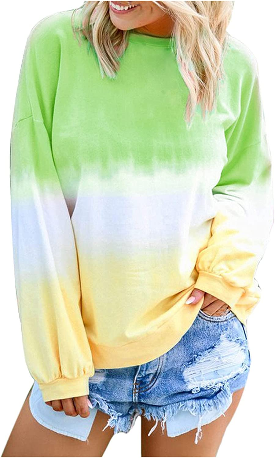 Womens Tie-Dye Tops Long Sleeve Sweatshirt Round Neck Pullover Gradient Color Casual Blouse
