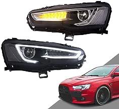 MOSTPLUS Projector Headlights W/Full Black Housing for 08-18 Mitsubishi Lancer/EVO X