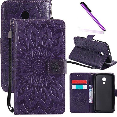 Motorola Moto G2 Case LEECOCO Embossed Floral Wallet Case with Card Cash Holder Slots Wrist Strap [Kickstand] PU Leather Flip Slim Case Cover for Motorola Moto G (2nd Generation) Mandala Purple
