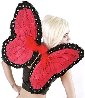 Red/Black Butterfly Fairy Costume Wings - Feather Wing for Adults and Kids