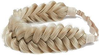 TOECWEGR Synthetic Hair Braided Headband Classic Chunky Wide Plaited Wedding Fluffy Braids Wig Women Girl Beauty Accessory...