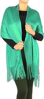 女式双色现代金属网眼腈纶派对披肩流苏卢勒克斯围巾