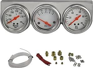 Enshey Autogage White Console Chrome Oil/Volt/Water Gauge 50mm DC 12B(V) Electric Water Temp + Oil Pressure + Volt Voltage Meter Car Gauge 3 in 1 Car Motorcycle Triple Gauge Kit (White)
