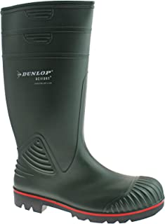 DUNLOP ACTIFORT MENS PVC GREEN STEEL TOE SAFETY WELLIES W138E SIZE UK 6 - 13 (UK10/EU44)