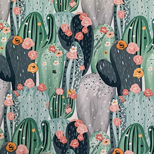 "willikiva Printed Waterproof Fabric DIY Sewing Crafts 39.37""(100CM) x 57""(145CM) Fabric for Upholstery and Home Accents, Indoor Outdoor Cushion(Cactus)"
