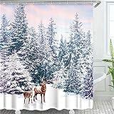 LIVILAN Winter Duschvorhang, Hirsche im Schnee, Wald, Duschvorhang-Set für Badezimmer mit 12 Haken, dekorativer blauer & pinker Himmel, Duschvorhang als Geschenk, 182,9 x 182,9 cm