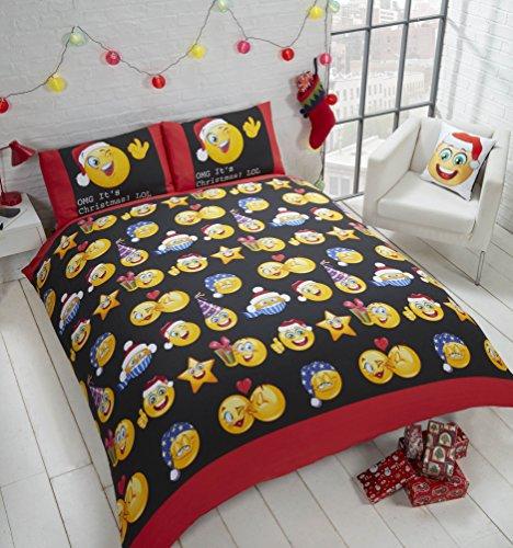 Rapport Christmas Faces - Juego de Funda de edredón y 2Fundas de Almohada para Cama Doble, diseño de emoticonos de Navidad, Multicolor