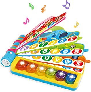 Musical Learning Book Baby Toys - Infant Early Development Piano Musical Rhymes Book Toys with Light Music Preschool Reading Flip Flop Learning Book for Toddler Kids Boys Girls (Musical Rhymes Book)
