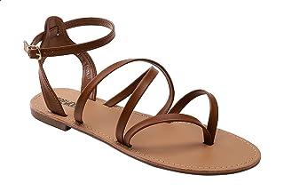 Premoda Faux-Leather Multi Strap Flat Sandals for Women
