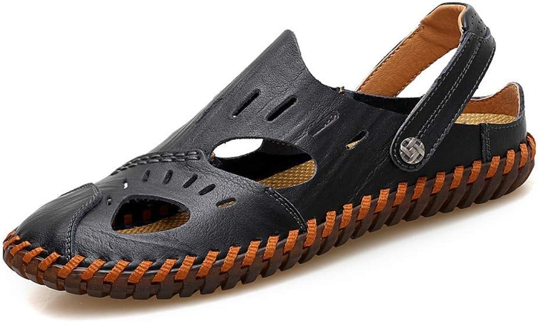 Men's shoes Outdoor Sports Sandals Leather Non-Slip Breathable Beach shoes Baotou Hollow Casual Sandals Men's shoes (color   10 US)