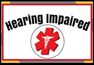Deaf Hearing Impaired Medical Alert Soft Fabric Stickers Reusable Set of 18