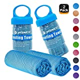 YQXCC Cooling Towels 2 Pack (47'x12') Travel Towel Microfiber Gym Towel for Men or Women Ice Cold Towels for Yoga Gym Travel Camping Golf Football & Outdoor Sports (2Light Blue)
