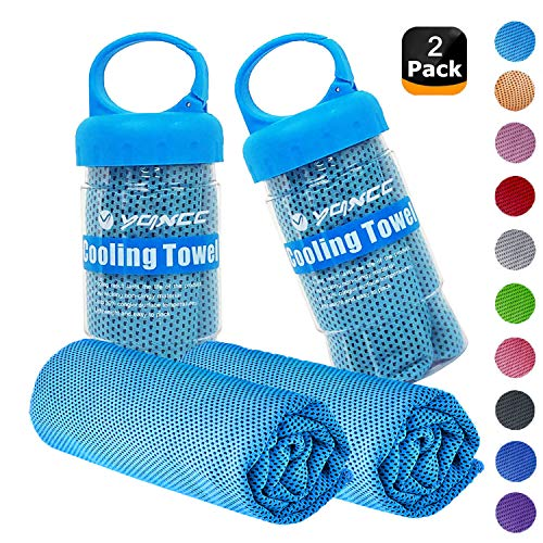 "YQXCC Cooling Towels 2 Pack (47""x12"") Travel Towel Microfiber Gym Towel for Men or Women Ice Cold Towels for Yoga Gym Travel Camping Golf Football & Outdoor Sports (2Light Blue)"