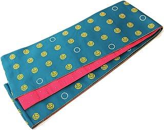 (オオキニ)大喜賑 半幅帯 日本製 リバーシブル 浴衣 帯 レディース ドットモダン薔薇 (青緑/ピンク)