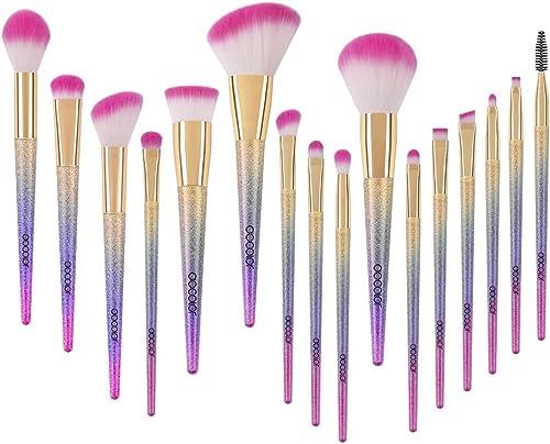 Docolor Makeup Brushes, 16pcs Professional Fantasy Make up Brush Set Foundation Blending Blush Concealer Eye Shadow C...