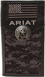 Custom Texas Silver Seal and American Flag Ariat Black Digital Camo long wallet