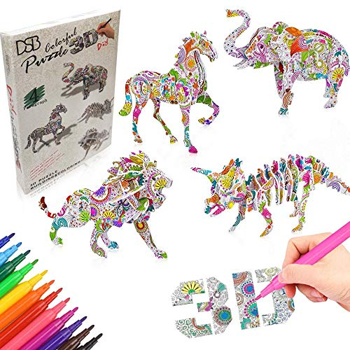 DSB 3D Colouring Puzzles Sets for Kids - Colour and Construct 3D Model Kits with 12 Felt Tip Markers - Creative DIY Arts and Crafts Toy Gifts for Girls Boys Children Age 7,8,9,10,11+ (4 Puzzles )