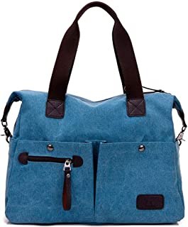 Women's Canvas Bag-Multi Pocket Bag Shoulder Bags Hobo Tote Bags Totes for Shopping (Color : Blue, Size : M)