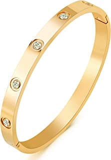 MVCOLEDY Jewelry 18 K Gold Bangle Bracelet CZ Stone Hinged Stainless Steel with Crystal Bangle for Women Small Size 6.7""