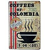 Lumanuby 1x Vintage Metal de caracteres pared Póster De Café Decoración Pared Cartel De 'Colombia Coffee' para bar/café, bar Sprüche Serie Size 20* 30cm