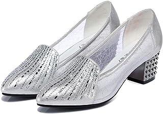 パンプス ポインテッド キラキラ 美脚効果 レディース 太ヒール メッシュ パンプス 歩きやすい 痛くない ラインストーン リベット 通気 レディース靴 疲れない シューズ フォーマル