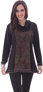 Parsley & Sage - Erin, 3/4 Sleeve Tunic with a Cowl Neck Collar & Trimmed Sleeves