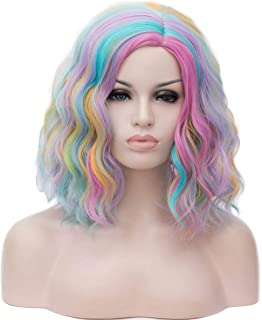 Heat Resistant Wig for Music Festival Wedding Dating Theme Parties Concerts Cosplay /& More AGPtEK Full Long Curly Wavy Rainbow Hair Wig