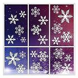 Feliciay 274 PCS pegatinas electrostáticas para ventana de copos de nieve, reutilizables, decoraciones de nieve, copos de nieve, adornos para árbol de Navidad, fiestas, regalos de Papá Noel(16 hojas)